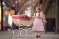 Картинка цветы, девочка, коляска
