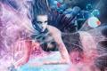 Картинка фантастика, медузы, кораблик, волосы, рука, слезы, русалка