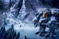 Картинка холод, зима, снег, молния, робот, буря, арт