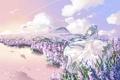 Картинка небо, вода, девушка, облака, цветы, природа, отражение