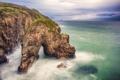 Картинка пейзаж, тучи, шторм, природа, океан, скалы, арка