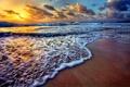 Картинка море, волны, пляж, закат, beach, sea, sunset