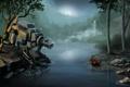 Картинка река, фантастика, бобер, встреча, ночь, озеро, робот