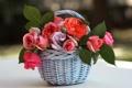 Картинка листья, цветы, розы, корзинка