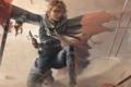 Картинка девушка, оружие, ветер, арт, нож, коса, эльфийка