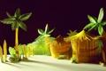 Картинка пляж, дом, бумага, пальмы, джунгли, картон, бунгало