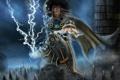 Картинка молнии, воин, сидит, Mortal Kombat, Raiden