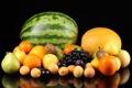 Картинка виноград, яблоки, груши, фрукты, апельсин, персики, дыня