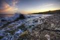 Картинка море, закат, камни, берег, побережье, прибой