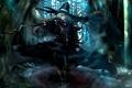 Картинка девушка, деревья, дым, шляпа, арт, ведьма, метла