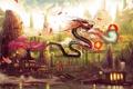 Картинка вода, деревья, корни, огонь, дракон, арт, мостик