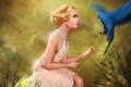 Картинка профиль, попугай, украшения, птица, арт, девушка