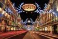 Картинка ночь, огни, праздник, улица, Англия, Лондон, Новый Год