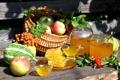 Картинка лето, яблоки, соты, мед, шиповник, тыква, фрукты