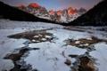 Картинка снег, горы, природа, утро