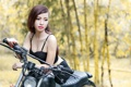 Картинка азиатка, девушка, мотоцикл