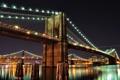 Картинка ночь, мост, город, огни, река, Нью-Йорк, USA