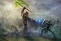 Картинка меч, доспехи, демон, воин, арт, посох, щит