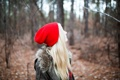 Картинка осень, шапка, блондинка, красная