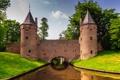 Картинка небо, трава, деревья, замок, стена, башня, канал
