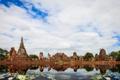Картинка листья, пруд, храм, круглые, Тайланд, Thailand, архитектура