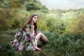 Картинка девушка, ветки, крылья, сирень