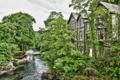 Картинка пейзаж, дом, река