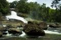Картинка деревья, камни, водопад, дымка