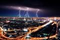 Картинка город, ночь, молнии