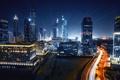 Картинка ночь, city, город, огни, Дубай, Dubai, небоскрёбы