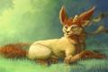 Картинка трава, животное, арт, лиса, уши, бант