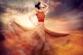 Картинка девушка, облака, креатив, пустыня, танец