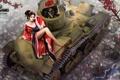 Картинка девушка, японка, рисунок, легкий, арт, танк, азиатка