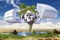 Картинка зелень, пейзаж, озеро, водопад, сооружение, арт, magewappa z