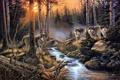 Картинка лес, природа, ручей, стая, арт, волки