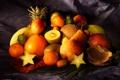 Картинка ткань, груша, грейпфрут, фрукты, кокос, мандарины, гранат