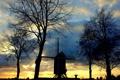 Картинка солнце, закат, мельница