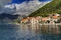 Картинка вода, горы, город, фото, побережье, Черногория, Perast