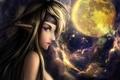 Картинка взгляд, луна, арт, профиль, эльфийка, уши, фэнтази