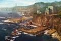 Картинка море, пейзаж, маяк, парусник, корабли, арт, пирс