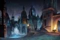 Картинка ратуша, пики, fable 3 вроде бы, ночь, улица, огни, город