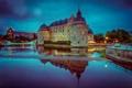 Картинка облака, ночь, огни, отражение, зеркало, Швеция, голубое небо