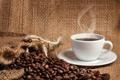Картинка кофе, напиток, чашка, дымок, кофейные зёрна, блюдце