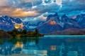 Картинка облака, горы, озеро, скалы, красота, вечер, Чили