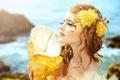 Картинка море, девушка, волосы, русалка, макияж, ракушка, кудри