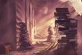 Картинка свет, здание, книги, паутина, арт, chibionpu