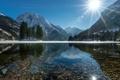 Картинка свет, пейзаж, горы, озеро