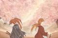 Картинка лепестки, сакура, самурай, цветение, rurouni kenshin, кеншин, хитокири баттосай