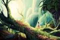 Картинка мох, деревья, лес, природа, арт, крылья, фея