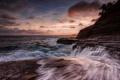 Картинка пейзаж, закат, скала, пальмы, океан, курорт